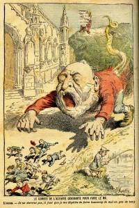 Emiles Combes caricaturé par Achille Lemot dans Le Pèlerin (1902).
